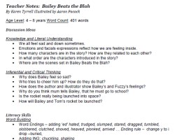 Bailey Beats the Blah Teacher Notes