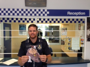 Flat Buddy Meets Brisbane Police Officer, who keeps everyone safe.