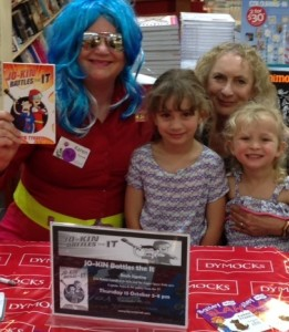 Susan Hilli and grandchildren at Dymocks Penrith