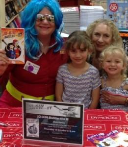 Susan Hilli and grandchildren at Dymocks Penrith