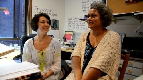 June Perkins & Helene Maggison creating Magic Fish Dreaming