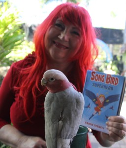 Karen Tyrrell as Song Bird Superhero ... minus feathers