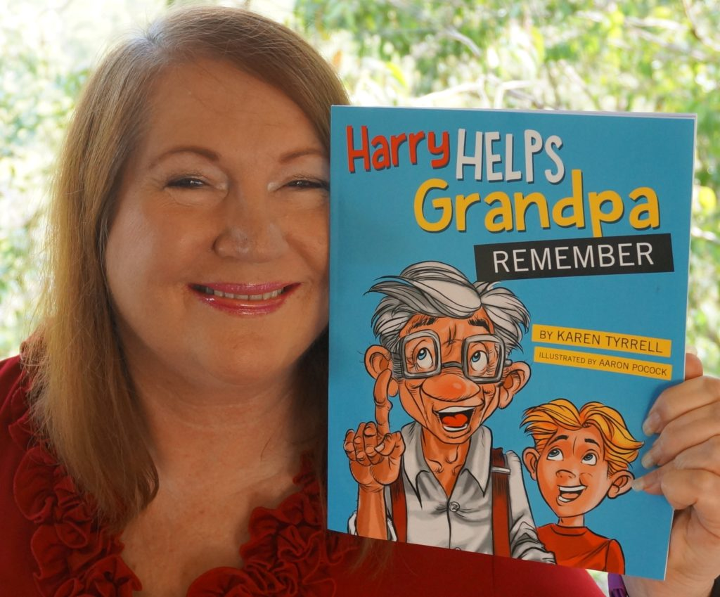 Karen Tyrrell with Harry Helps Grandpa Remember